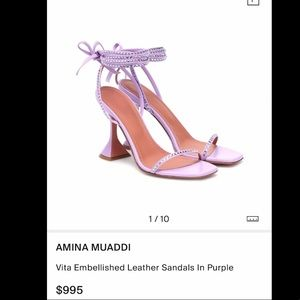 Amina Mauddi Vita Embellished Leather Sandals